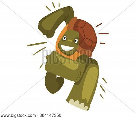 Fast Turtle Running, Funny Tortoise Animal Cartoon Character, Front View Vector Illustration On Whit