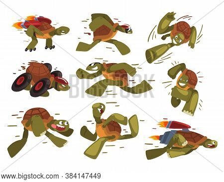 Fast Turtles Collection, Funny Tortoise Animals Cartoon Characters Running, Speed Leaders Vector Ill