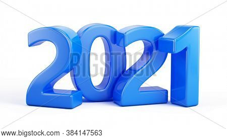 Happy New 2021 Year concept. Blue 3d numbers 2021. 3d rendering