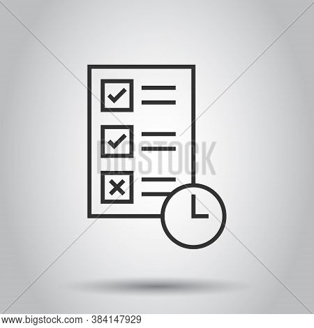 Contract Time Icon In Flat Style. Document With Clock Vector Illustration On White Isolated Backgrou