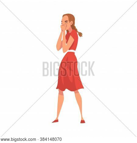 Girl Gossiping, Young Woman Giggling And Covering Mouth With Her Hand Cartoon Vector Illustration On