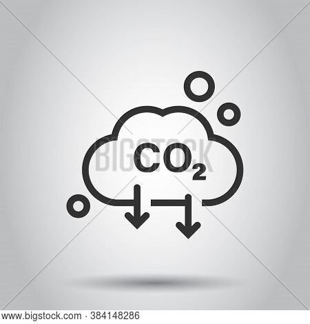 Co2 Icon In Flat Style. Emission Vector Illustration On White Isolated Background. Gas Reduction Bus