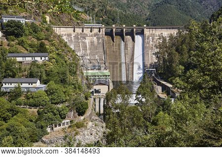 Hydroelectric Power Station And Dam Viewed From Above. Galicia, Spain