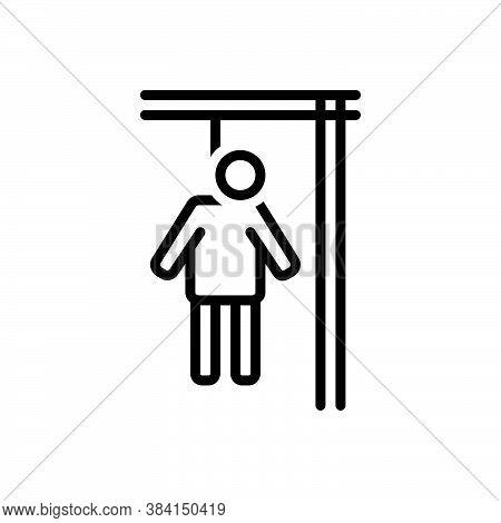 Black Line Icon For Die Perish Lose-one's-life  Suicide Self-destruction Death Hang Quietus Killing-
