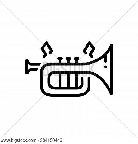 Black Line Icon For Instrument Trumpet Musical-instrument Entertainment Acoustic Classical Melody Mu