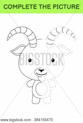 Complete The Picture Of Cute Goat. Coloring Book. Copy Picture. Handwriting Practice, Drawing Skills