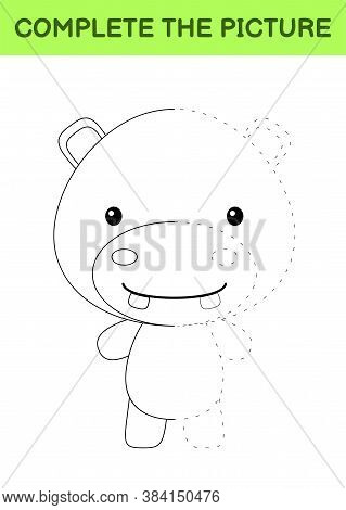 Complete The Picture Of Cute Hippo. Coloring Book. Copy Picture. Handwriting Practice, Drawing Skill