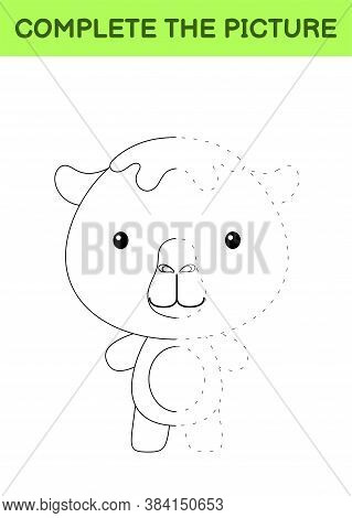 Complete The Picture Of Cute Camel. Coloring Book. Copy Picture. Handwriting Practice, Drawing Skill