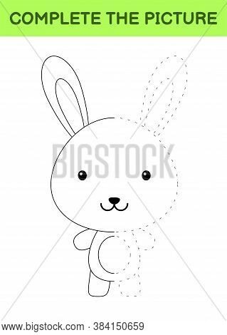 Complete The Picture Of Cute Hare. Coloring Book. Copy Picture. Handwriting Practice, Drawing Skills