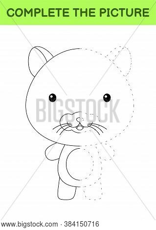 Complete The Picture Of Cute Hamster. Coloring Book. Copy Picture. Handwriting Practice, Drawing Ski