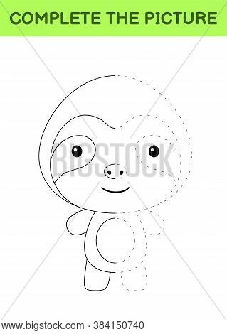 Complete The Picture Of Cute Sloth. Coloring Book. Copy Picture. Handwriting Practice, Drawing Skill