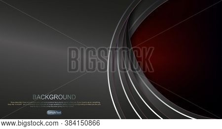 Abstract Dark Background Of Red Shade, Semicircular Curtains With A Border Of Gray Shade, Round Fram