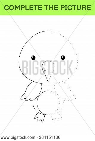 Complete The Picture Of Cute Flamingo. Coloring Book. Copy Picture. Handwriting Practice, Drawing Sk