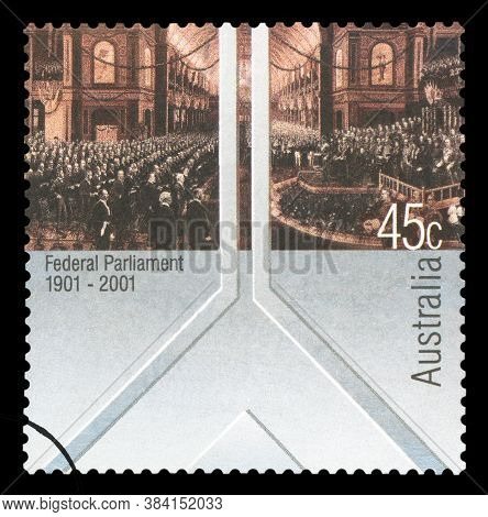Australia - Circa 2001: A Stamp Printed In Australia Shows The Opening Of The First Federal Parliame
