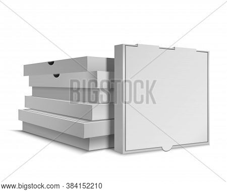 Realistic Detailed 3d White Blank Empty Stack Of Pizza Boxes Template Mockup. Vector Illustration Of