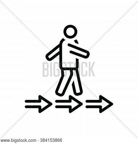 Black Line Icon For Pursue Move Go-after Run Walk Arrow Ensue Chase