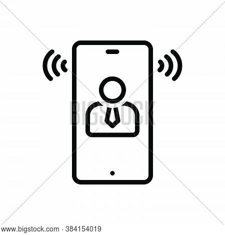 Black Line Icon For Speech Oration Harangue Speaking Lecture Recitative Conversation Phone