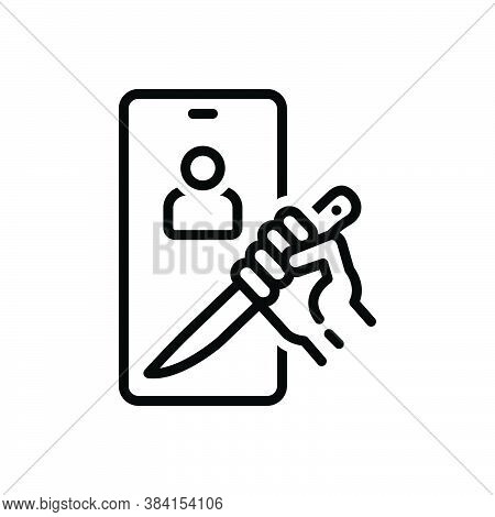 Black Line Icon For Threaten Intimidate Blank-call Browbeat Bluster Appall Jeopardize Crazy Killing