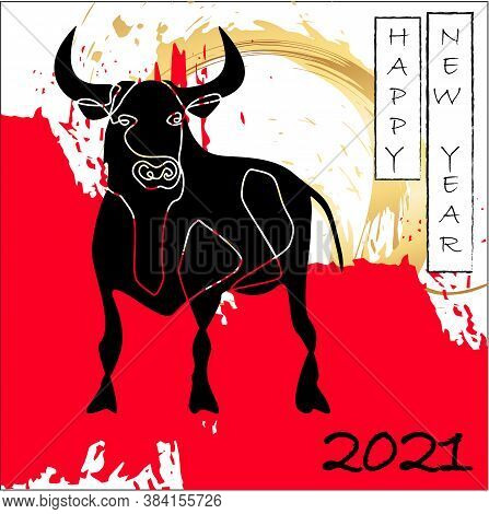 Happy Chinese New Year Greeting Card 2021. Aggressive Black Bull Against Background Of Golden Sun. R