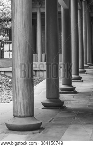 Wooden Column In Chinese Temple In Hong Kong, China