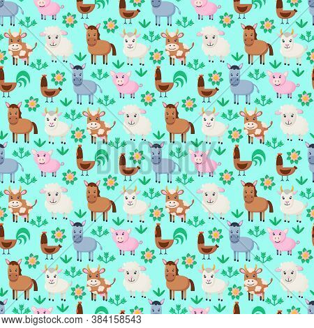 Farm Animals Seamless Pattern. Collection Of Cartoon Cute Baby Animals. Cow, Sheep, Goat, Horse, Don