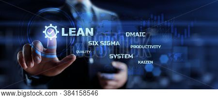 Lean Manufacturing Dmaic, Six Sigma System. Business And Industrial Process Optimisation Concept On