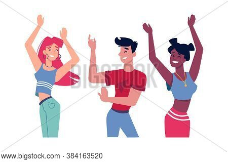 Girls And Guy Dancing At Party Or Music Club, Vector People Characters Flat Isolated. Happy Women Or
