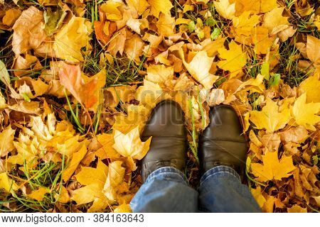 Fall, Autumn, Leaves, Legs And Shoes. Conceptual Image Of Legs In Boots On The Autumn Leaves. Feet S