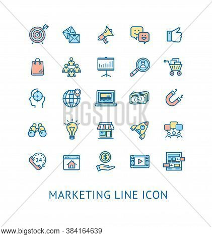 Inbound Marketing Color Thin Line Icon Set Include Of Magnet, Globe And Money. Vector Illustration O