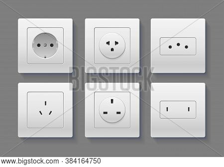 Realistic Detailed 3d Socket Set On A Grey Background For Interior Modern. Vector Illustration Of So