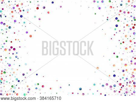 Colorful Pattern With Glowing Circular Dots (confetti). Rainbow Twinkle Circles On White Background.