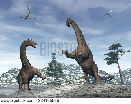 Alamosaurus Dinosaurs Fighting In The Mountain Under Quetzalcoatlus Flying - 3d Render