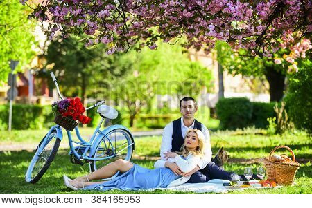 Romantic Picnic. Couple Cuddling On Blanket. Happy Together. My Darling. Anniversary Concept. Idylli
