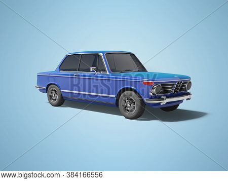 3d Rendering Blue Classic Car With Tinted Windows On Blue Background With Shadow