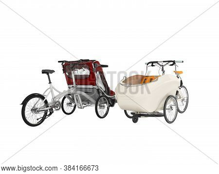 3d Rendering Set Of White Adult Bicycle With Stroller For Children With An Open Top And Closed Top O