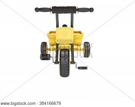 3d Rendering Yellow Tricycle For Child With Trunk Front View On White Background No Shadow