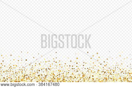 Yellow Sequin Glamour Transparent Background. Christmas Polka Banner. Gold Shine Isolated Wallpaper.