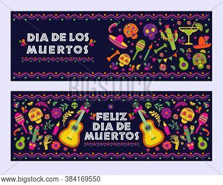 Dias De Los Muertos Typography Banners Vector. Mexico Design For Fiesta Cards Or Party Invitation, P
