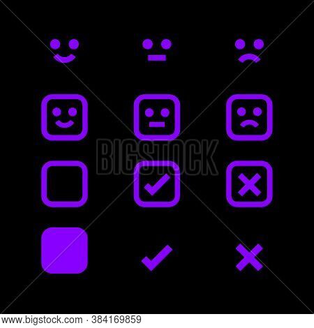 Purple Glowing Icon And Emotions Face, Emotional Symbol And Approval Check Sign, Emotions Faces And