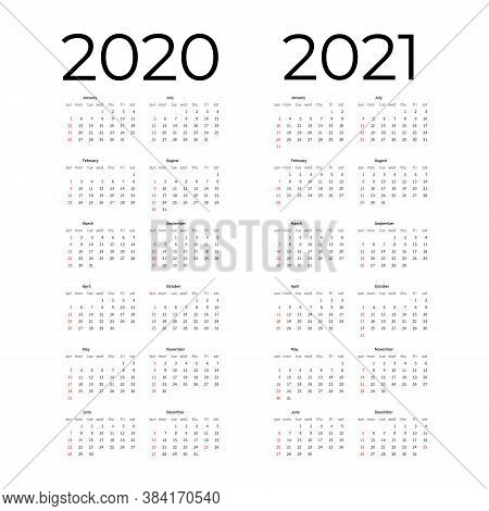 Calendar Template Set For 2020, 2021 Years. Week Starts On Monday Simple Editable Vertical Vector Ca