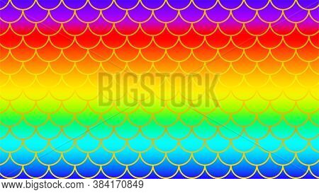 Mermaid Pattern Golden On Rainbow Colorful Background, Fish Scale Pattern Gold Art Line On Rainbow B