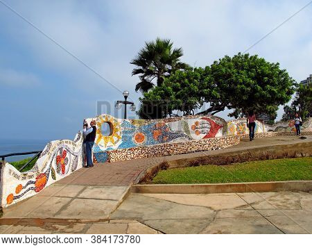 Lima / Peru - 30 Apr 2011: The Coastline Miraflores, Lima, Peru, South America