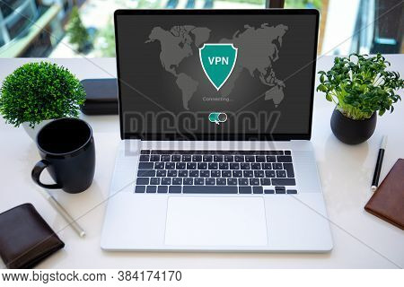Laptop With App Vpn Creation Internet Protocols For Protection Private Network On Screen In The Offi