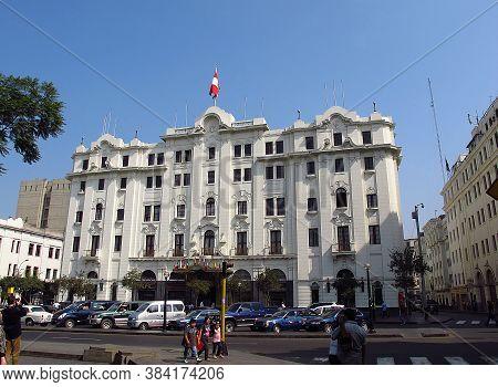 Lima / Peru - 30 Apr 2011: The Flag On Plaza De Armas, Plaza Mayor, Lima City, Peru, South America