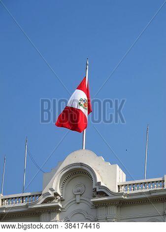 The Flag On Plaza De Armas, Plaza Mayor, Lima City, Peru, South America