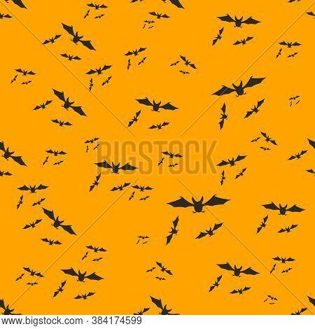 Halloween Decoration Bats Swarm Seamless Pattern Design Vector Illustration