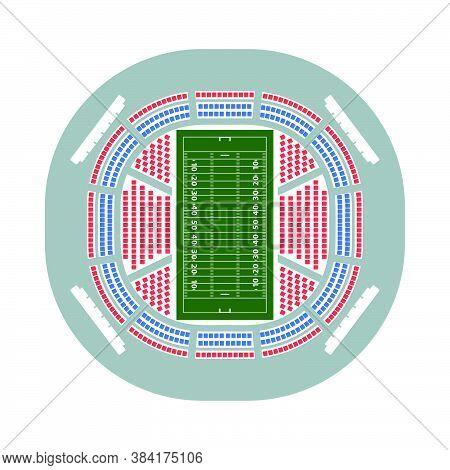 American Football Stadium Bird's-eye View Icon. Flat Color Design. Vector Illustration.