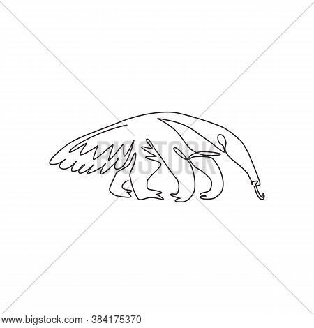 One Continuous Line Drawing Of Giant Anteater For Logo Identity. Vermilingua Mammal Animal Mascot Co
