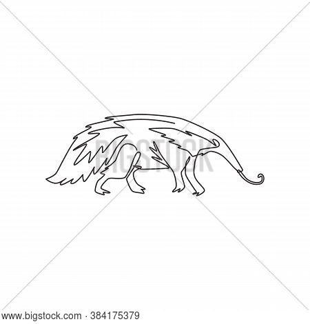 One Single Line Drawing Of Big Anteater For Logo Identity. Worm Tongue Animal Mascot Concept For Nat