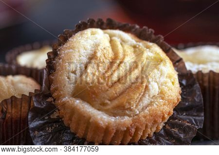 Rice Flour Cupcake With Apple Slices. The Cupcake Lies On A Wooden Plate. Apple Filling. Delicious H